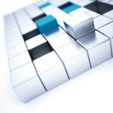 Silver and blue metallic cubes Royalty Free Stock Image