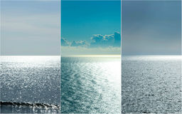 Silver Blue Ocean Triptych Stock Photography