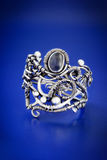 Silver blue sapphire wire wrap ring-2 Stock Photo
