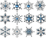 Silver-Blue Snowflakes Royalty Free Stock Images