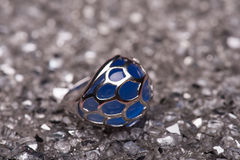Silver blue stone ring Stock Images