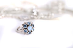 Silver with blue stones ring Stock Images