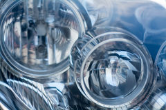 Silver blue technology, abstract background from a blurred close. Silver blue background art, blurred close-up of a car headlight, abstract texture for modern Stock Image