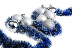 Silver and blue Xmas decoration Stock Photography
