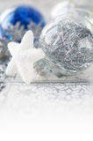 Silver and blue xmas decorations Royalty Free Stock Photo