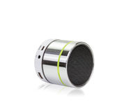 Silver bluetooth speaker isolated on white background,clipping p Royalty Free Stock Image