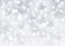 Silver bokeh abstract background with falling snowflakes and sparkles stock illustration