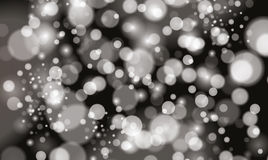 Silver Bokeh Lights and Sparkles on Black Background. Vector Illustration Royalty Free Stock Image