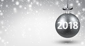 Silver shining 2018 New Year background. Silver bokeh 2018 New Year background with Christmas ball. Vector illustration Stock Photography