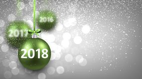 Silver shining 2018 New Year background. Silver bokeh 2018 New Year background with green Christmas balls. Vector illustration Royalty Free Stock Photos