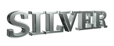 Silver bold letters 3d rendering isolated Royalty Free Stock Photos
