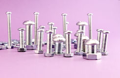 Silver Bolts and nuts Royalty Free Stock Photos