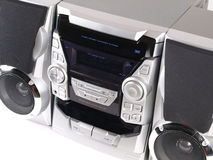 Silver Boom Box Stereo angle close up Stock Photo