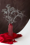 Silver bouquet in a red vase. Silver bouquet of dried plants in a vase with curly red scarf at the bottom, still life Stock Photos