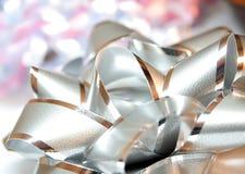 Silver bow. Close up shot of silver bow Stock Photos