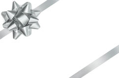 Silver Bow And Ribbon Isolated Clipping Path Royalty Free Stock Image