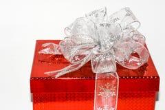 Silver bow on box Royalty Free Stock Photos