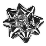 Silver bow (clipping path included) Stock Photo