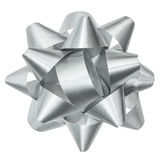 Silver Bow Isolated Clipping Path Stock Photo