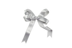 Silver bow isolated on white background Stock Photos