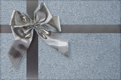 Silver bow and ribbon Stock Photography