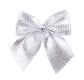 Silver bow ribbon Royalty Free Stock Images