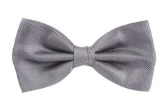 Silver bow tie isolated over white stock photos
