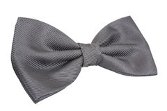 Silver bow tie isolated over white. Background 3/4 view Royalty Free Stock Images