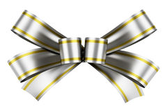 Silver bow with yellow strips isolated on white Stock Photography