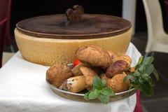 Silver bowl of fresh raw Boletus edulis mushroom Stock Images