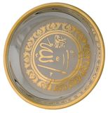 Silver bowl with gold trim Stock Photos