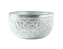 Silver bowl isolated on white Royalty Free Stock Photography