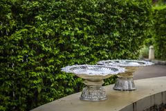 Silver bowl for put food for monk. At the temple Stock Photos