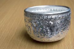 Silver bowl. Royalty Free Stock Photo
