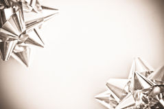 Silver Bows On A White Background Royalty Free Stock Image