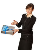 Silver box with blue bow as a present. Woman giving a silver box with blue bow as a gift Stock Images