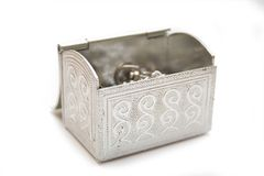 Silver box for gifts Stock Image