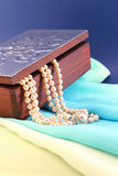 Silver box and pearl necklace closeup Stock Images