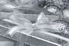 Silver Box with Silver Bow Royalty Free Stock Images