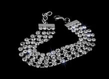 Silver bracelet with crystals - Stainless Steel Stock Photos