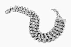 Silver bracelet with crystals - Stainless Steel Royalty Free Stock Photo