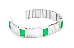 Silver bracelet with emerald stones Stock Photo