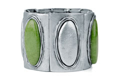 Silver bracelet with green Stock Photo