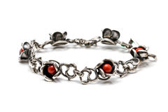 Silver bracelet with red coral Royalty Free Stock Images