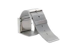 Silver bracelet watch stock photo