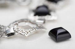 Silver bracelet. Royalty Free Stock Images