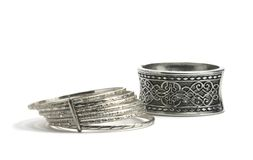 Silver bracelets Royalty Free Stock Photo