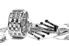 Silver bracelets with beads Stock Photography