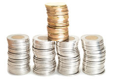 Silver and brass coins stacked Royalty Free Stock Image