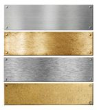 Silver and brass metal plates or plaques with. Rivets isolated set stock photo
